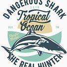 Dangerous Shark Real Hunter T-shirt by artbaggage