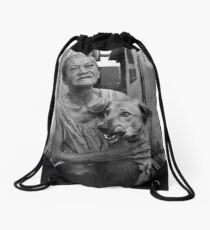 Lady of the slum Drawstring Bag