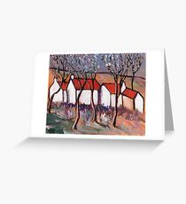 RED ROOFS AND BLOSSOM TREES Greeting Card