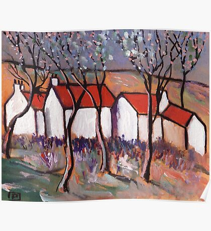 RED ROOFS AND BLOSSOM TREES Poster