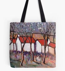 RED ROOFS AND BLOSSOM TREES Tote Bag