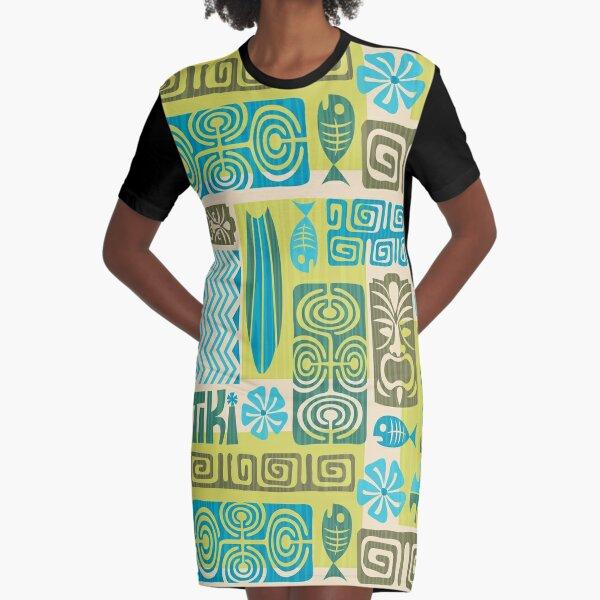 Tiki Time Luau Party Pattern Graphic T-Shirt Dress
