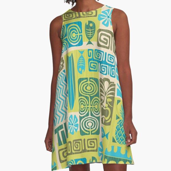 Tiki Time Luau Party Pattern A-Line Dress