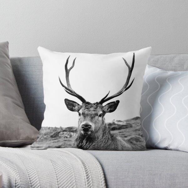 European Red Stag - b/w Throw Pillow