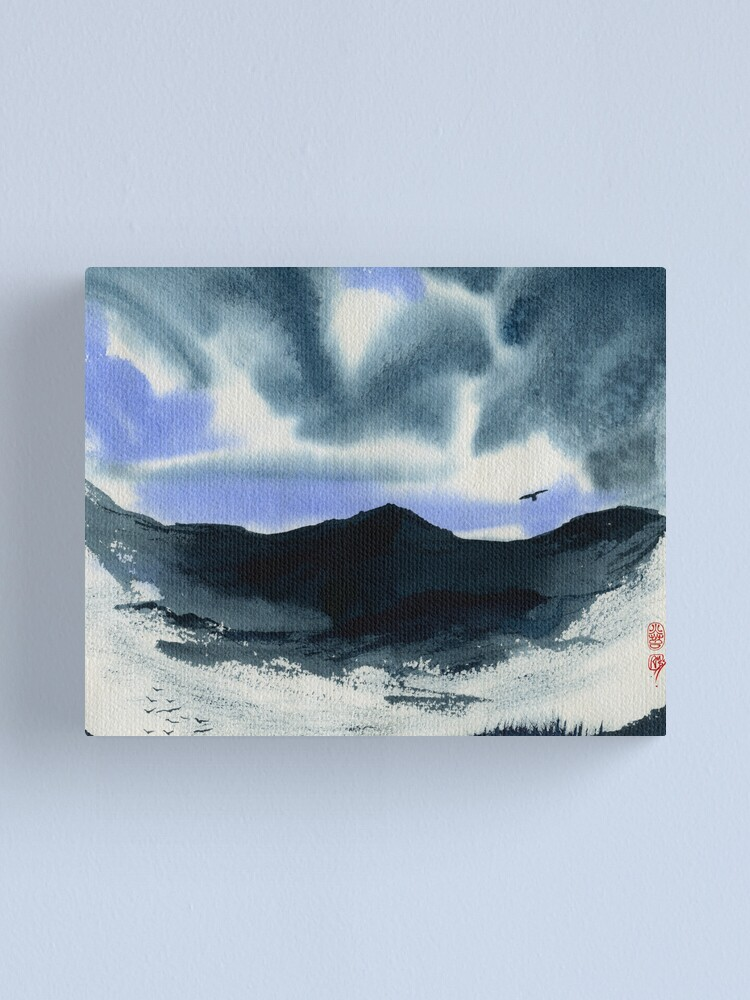 Alternate view of Eagle Circles The Blue Canvas Print