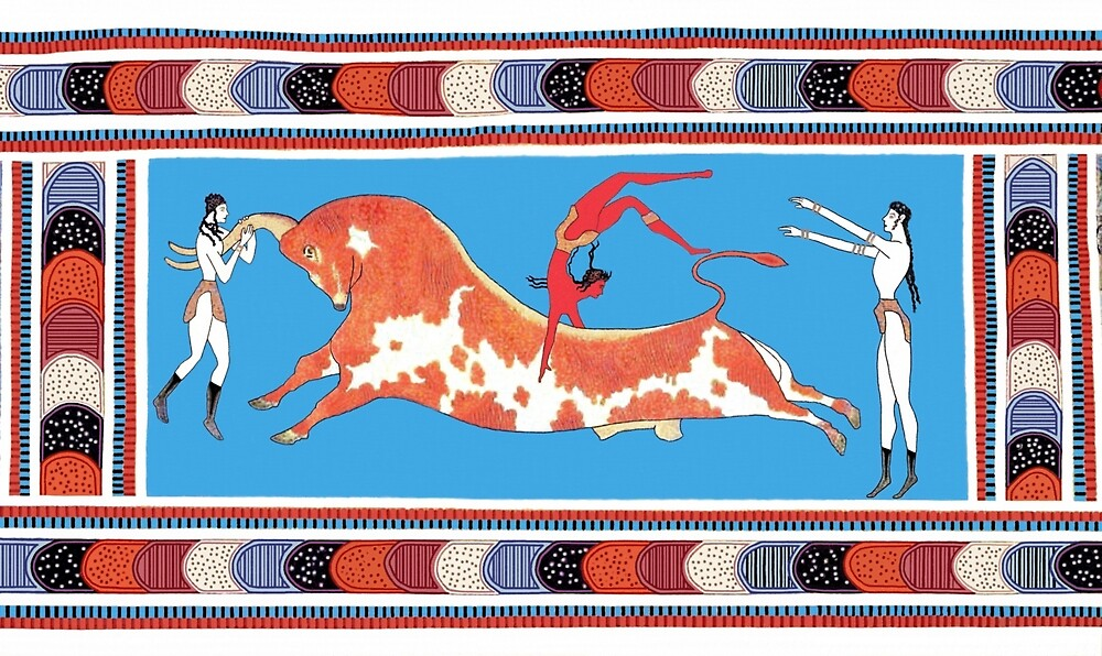 Minoan Bull Leaping Toreador Fresco Restoration by W. Sheppard Baird