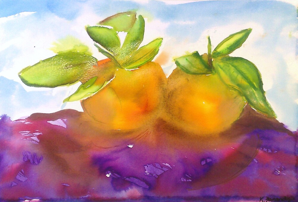 Watercolour Alla Prima Manderines by Karen McGrath