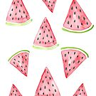 Watercolor Watermelon Pattern by latheandquill