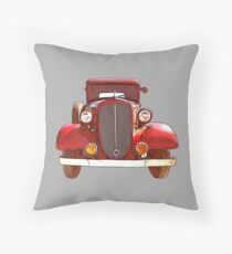 Old Red Car 1920s Throw Pillow