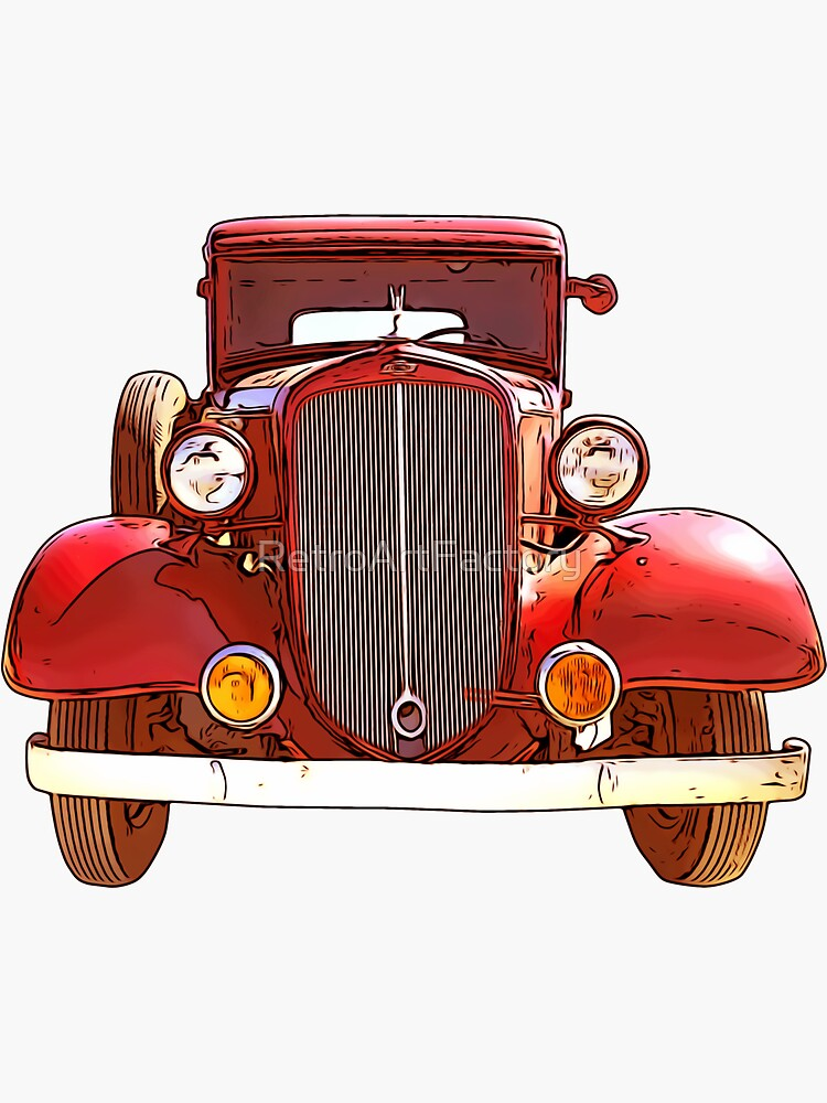Old Red Car 1920s by RetroArtFactory