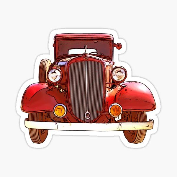 Old Red Car 1920s Sticker