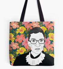 Ruth bader Ginsburg Floral Tote Bag