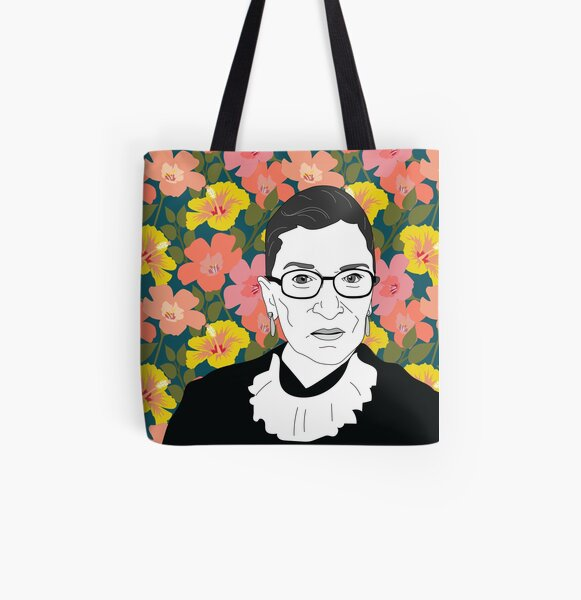 Ruth bader Ginsburg Floral All Over Print Tote Bag