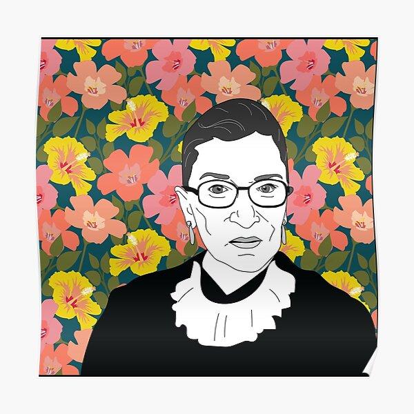 Ruth bader Ginsburg Floral Poster