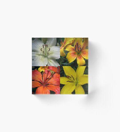 Funkelnde Juwelen - Regentropfen auf Lilien-Collage Acrylblock