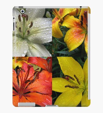 Funkelnde Juwelen - Regentropfen auf Lilien-Collage iPad-Hülle & Klebefolie