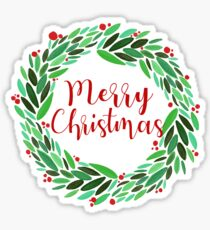Pegatina Merry Christmas Chic Holly Wreath