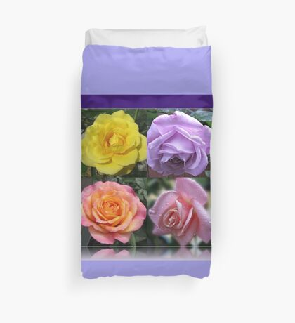 Collage mit vier Rosen Bettbezug