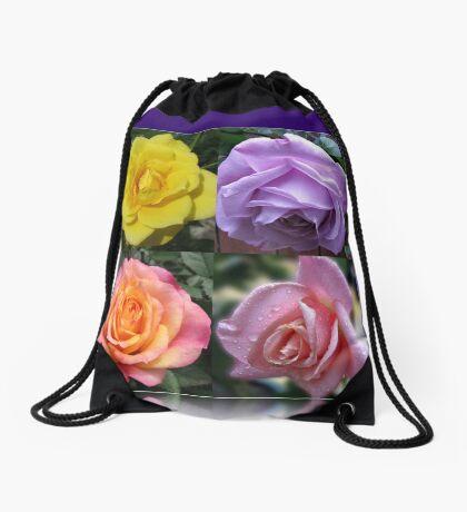 Collage mit vier Rosen Turnbeutel