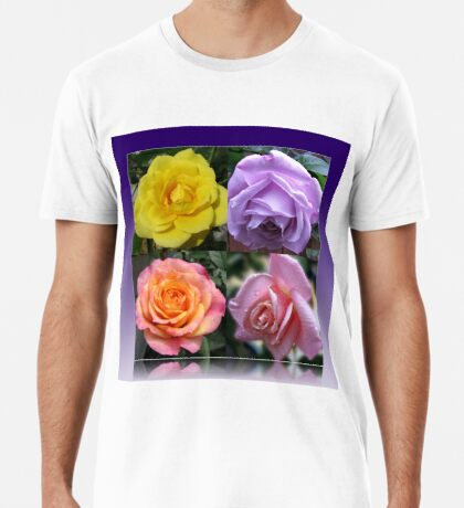Collage mit vier Rosen Premium T-Shirt