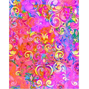 Romantic Psychedelic Pink Chic Floral Pattern by comunicator