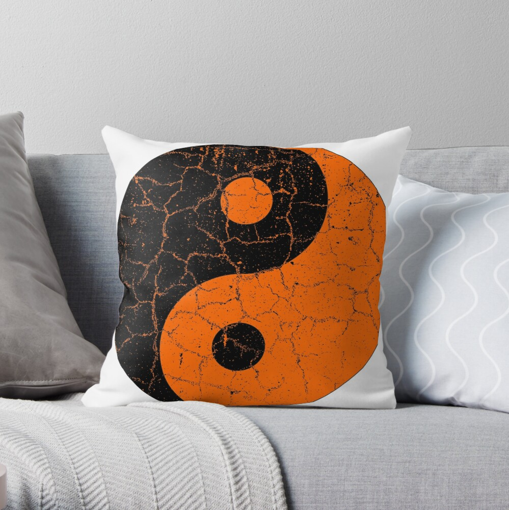 Black and Orange Chinese Yin Yang Symbol Throw Pillow
