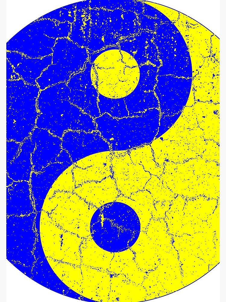 Blue and Yellow Chinese Yin Yang Symbol by joehx