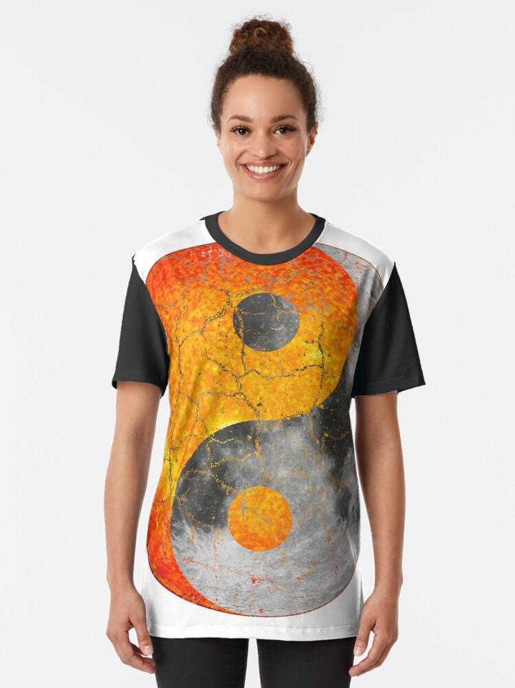 Alternate view of Sun and Moon Chinese Yin Yang Symbol Graphic T-Shirt