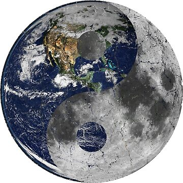 Earth and Moon Chinese Yin Yang Symbol by joehx