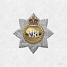 The Royal Canadian Regiment - The RCR Cap Badge over White Leather by Serge Averbukh