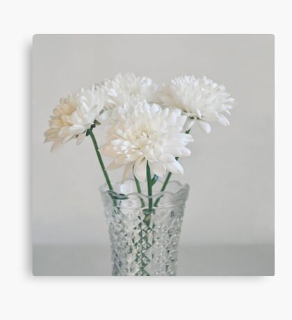 Creamy white flowers in tall vase. Canvas Print