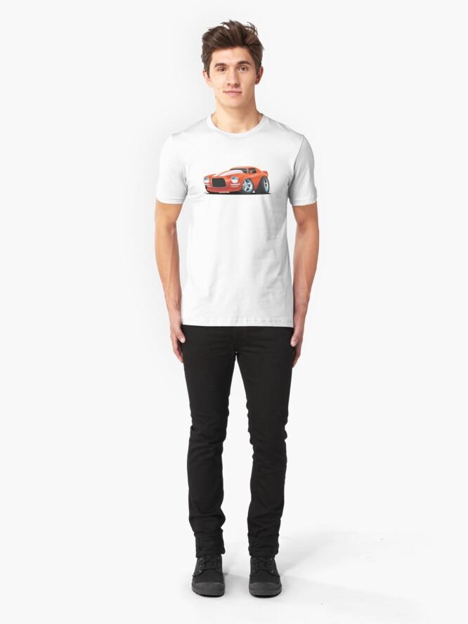 Alternate view of Classic Seventies Muscle Car Cartoon Slim Fit T-Shirt