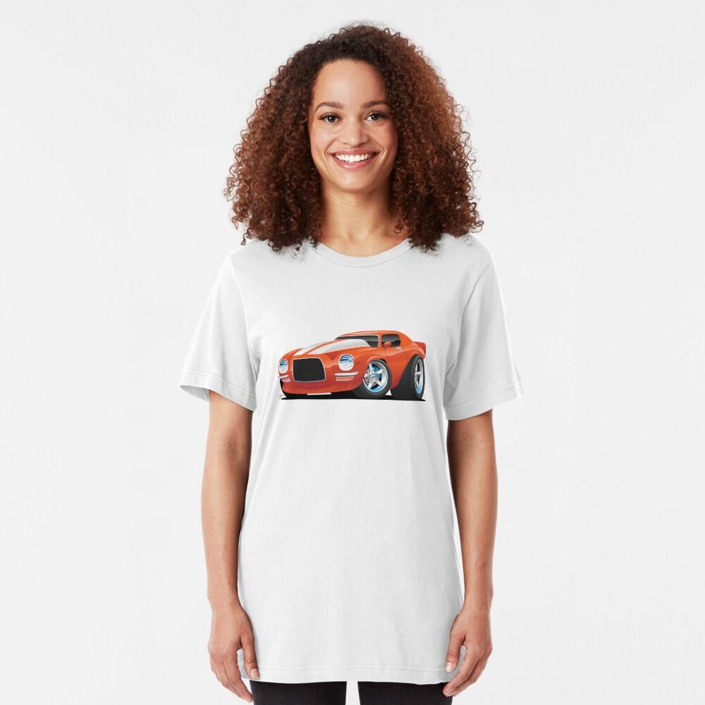 Classic Seventies Muscle Car Cartoon Slim Fit T-Shirt