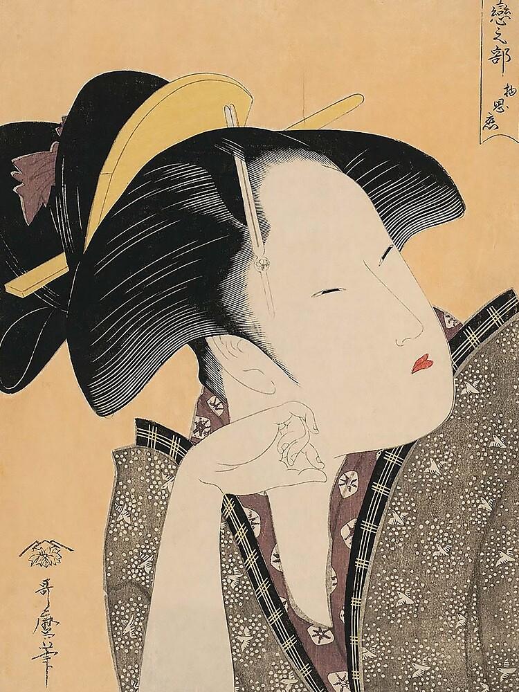 Vintage Japanese Ukiyo-e Woodblock Print Geisha Portrait IV by VintageArchive