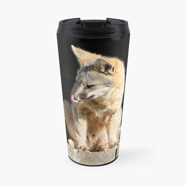 Fox licks his sniffer Travel Mug