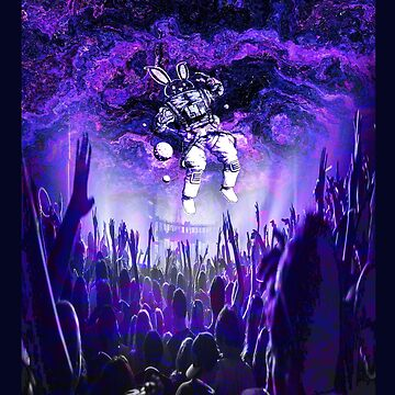 Rave Trippy Bunny Astronaut Floating Over Crowd by comunicator