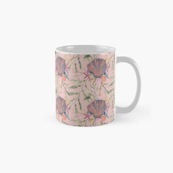 Peach pink seashell print Classic Mug