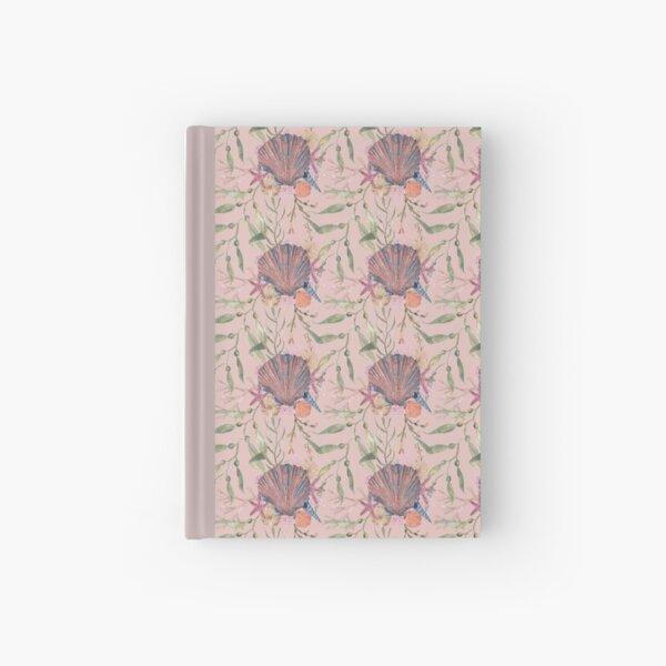 Peach pink seashell print Hardcover Journal
