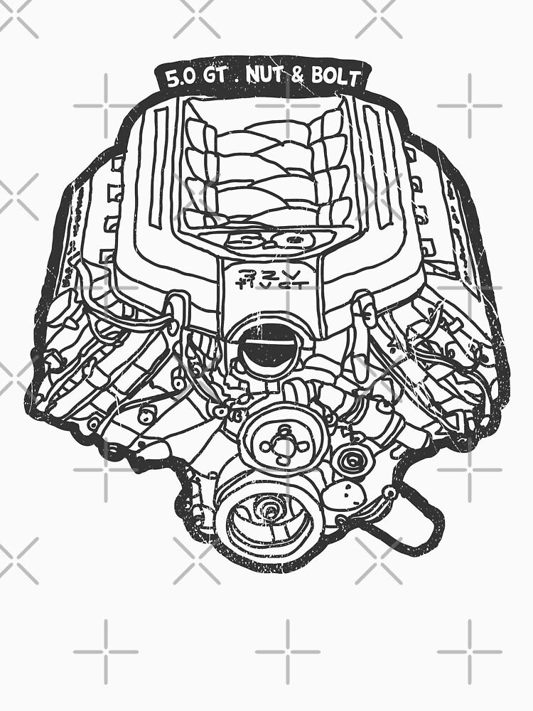 Ford Mustang Gt 5 0 V8 Engine T Shirt By Nutandbolt