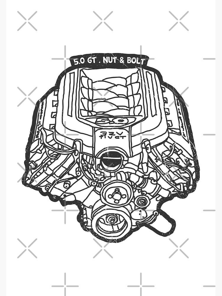 Ford Mustang Gt 50 V8 Engine Metal Print By Nutandbolt Redbubble