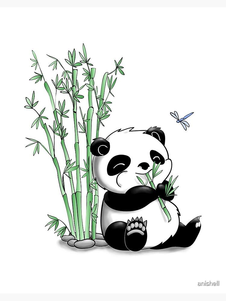 Panda Eating Bamboo Art Board Print By Anishell Redbubble
