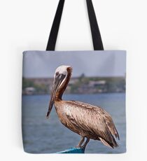 Pelican on Boat Lift Tote Bag