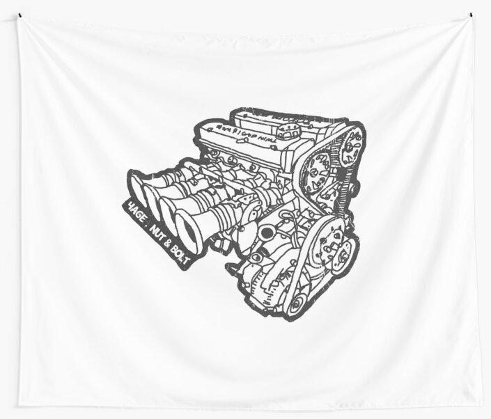 Toyota Ae86 Corolla Levin Sprinter Trueno 4age Engine Wall Tapestry