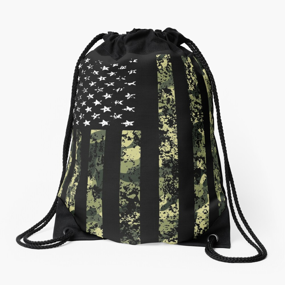 Camo American Flag Drawstring Bag