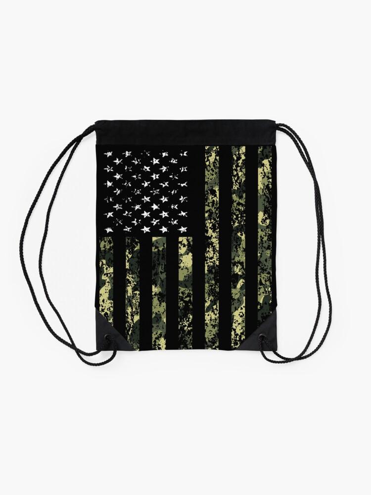 Alternate view of Camo American Flag Drawstring Bag