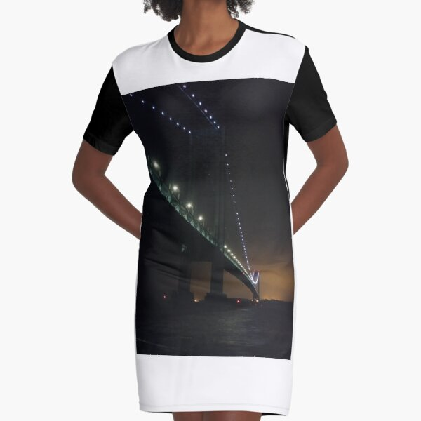 Verrazano Narrows Bridge, #Verrazano, #Narrows, #Bridge, #VerrazanoNarrowsBridge, #VerrazanoBridge, #NewYorkCity, #NewYork Graphic T-Shirt Dress