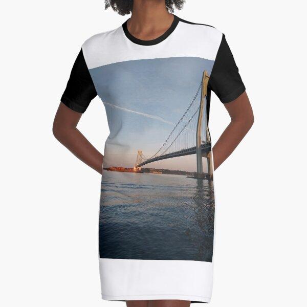 Verrazano Narrows Bridge, #Verrazano, #Narrows, #Bridge, #VerrazanoNarrowsBridge, #VerrazanoBridge, #NewYorkCity, #NewYork Graphic T-Shirt Dress