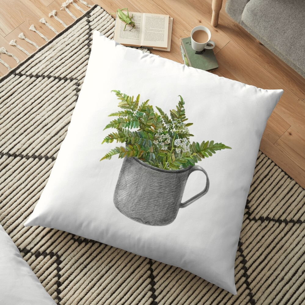 Mug with fern leaves Floor Pillow