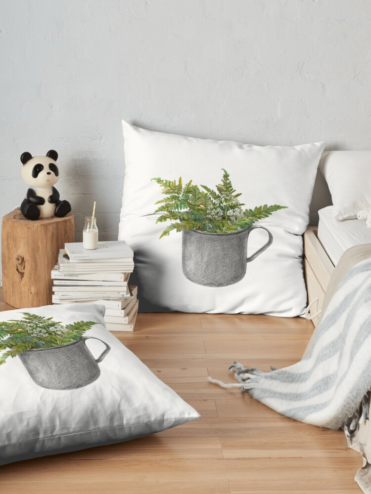Alternate view of Mug with fern leaves Floor Pillow