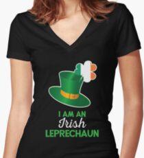 Irish St Patricks Day Leprechaun Women's Fitted V-Neck T-Shirt